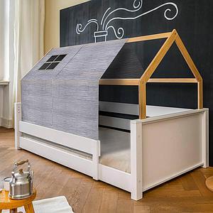 Cama montessori barrera simple-estructura techo KASVA con textiles Bobble gris