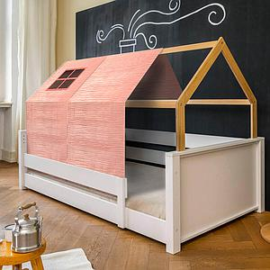 Cama montessori barrera simple-estructura techo KASVA con textiles Bobble rosa