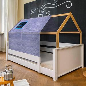 Cama montessori barrera simple-estructura techo KASVA con textiles Bobble verde-azul