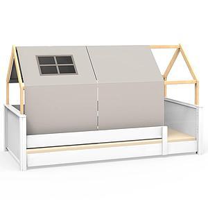Cama montessori barrera simple-estructura techo KASVA con textiles Viena gris