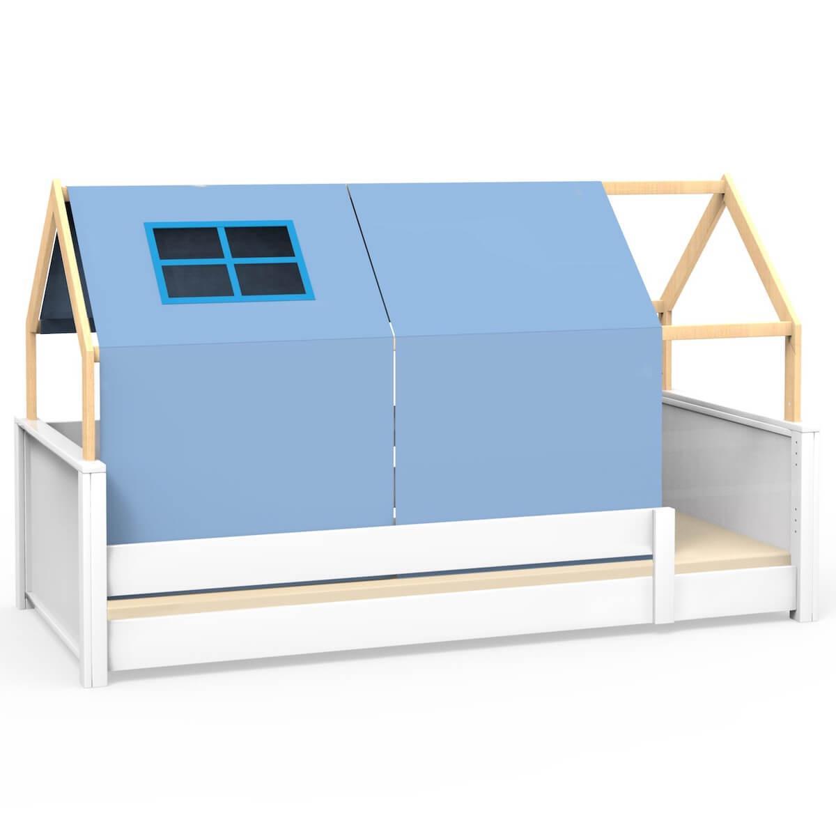 Cama montessori barrera simple-estructura techo KASVA con textiles Viena verde-azul