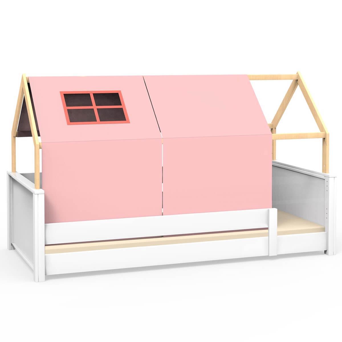 Cama montessori barrera simple-estructura techo KASVA con textileso Viena rosa