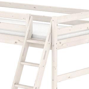 Cama semi alta 90x190 CLASSIC Flexa escalera inclinada blanco cal