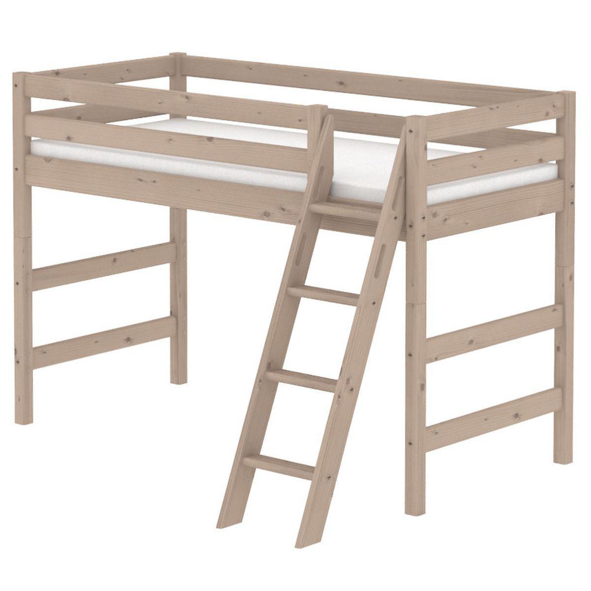 Cama semi alta 90x190 CLASSIC Flexa escalera inclinada terra