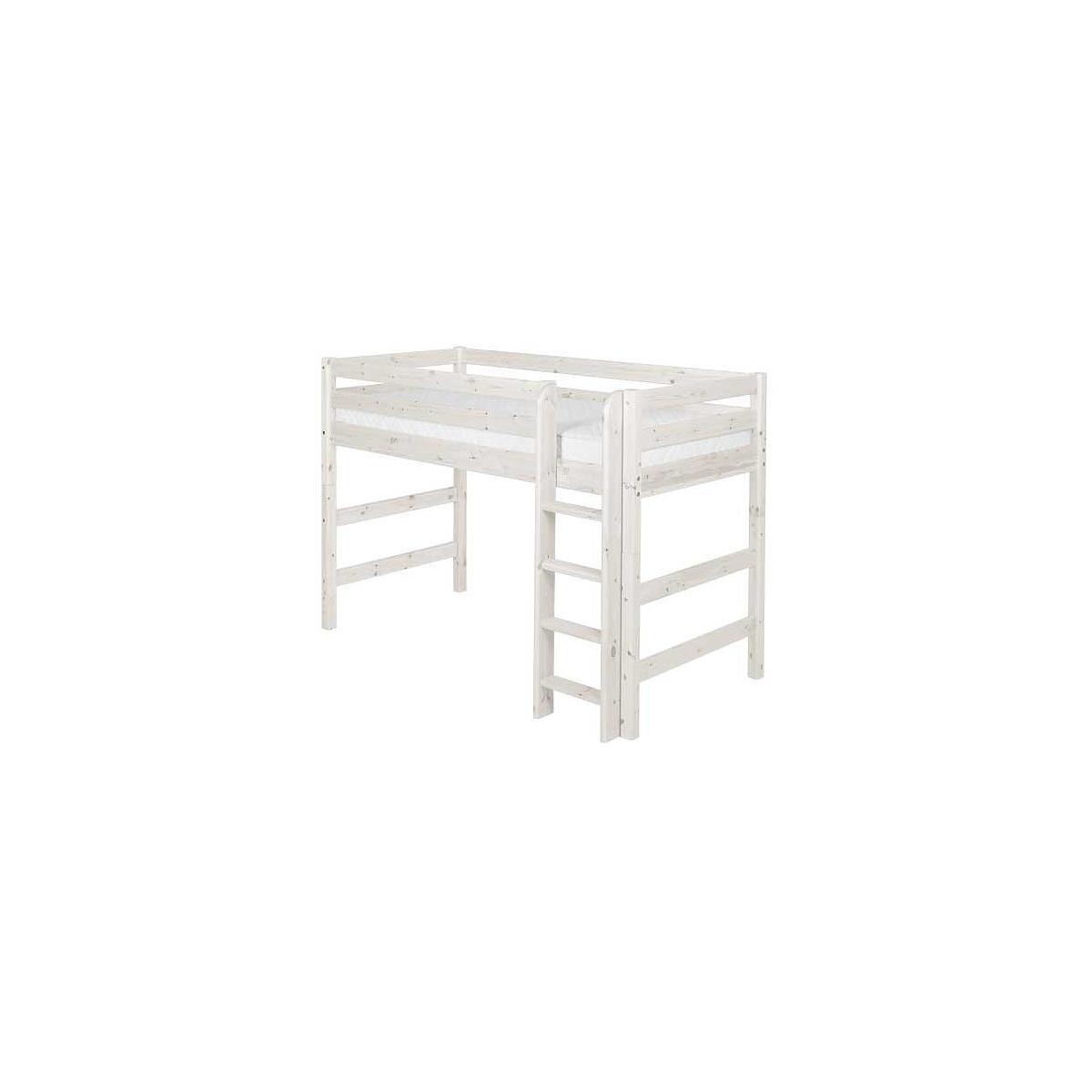 Cama semi alta 90x190 CLASSIC Flexa escalera recta blanco cal