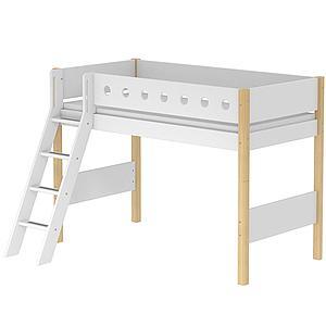 Cama semi alta 90x190 WHITE Flexa escalera inclinada barrera blanca patas abedul