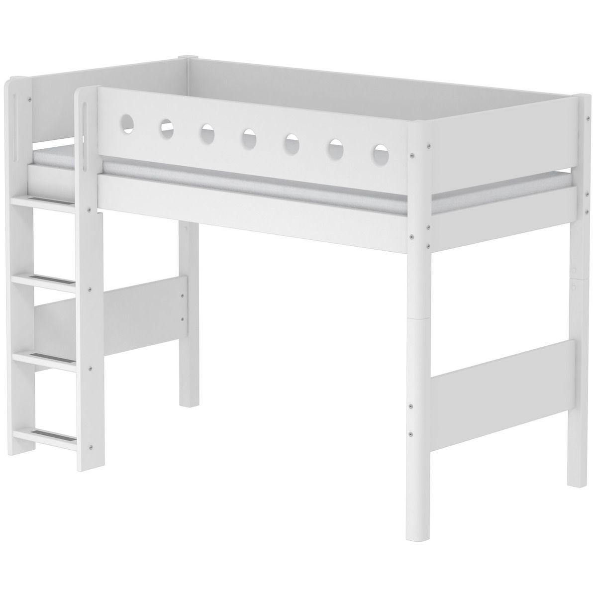 Cama semi alta 90x190 WHITE Flexa escalera recta barrera y patas blancas