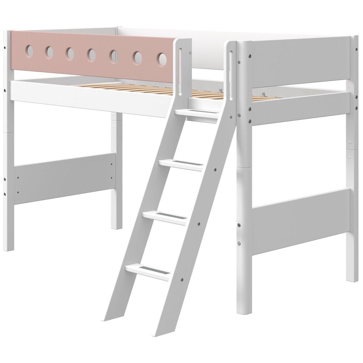 Cama semi-alta 90x190cm escalera inclinada WHITE Flexa blanco-rosa claro