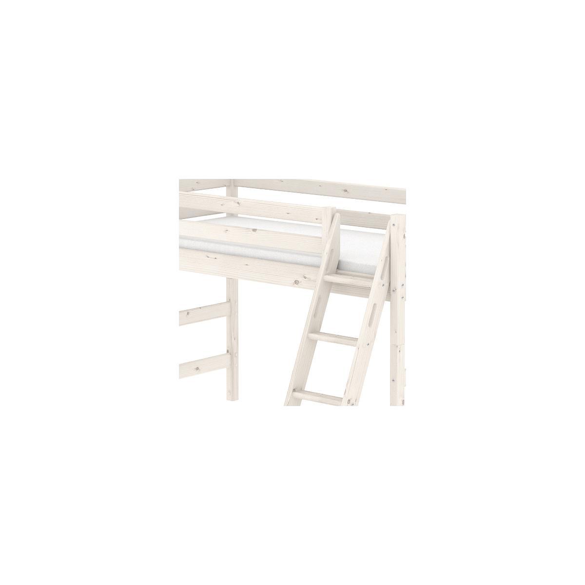 Cama semi alta 90x200 CLASSIC Flexa escalera inclinada blanco cal