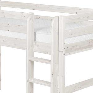 Cama semi alta 90x200 CLASSIC Flexa escalera recta blanco cal