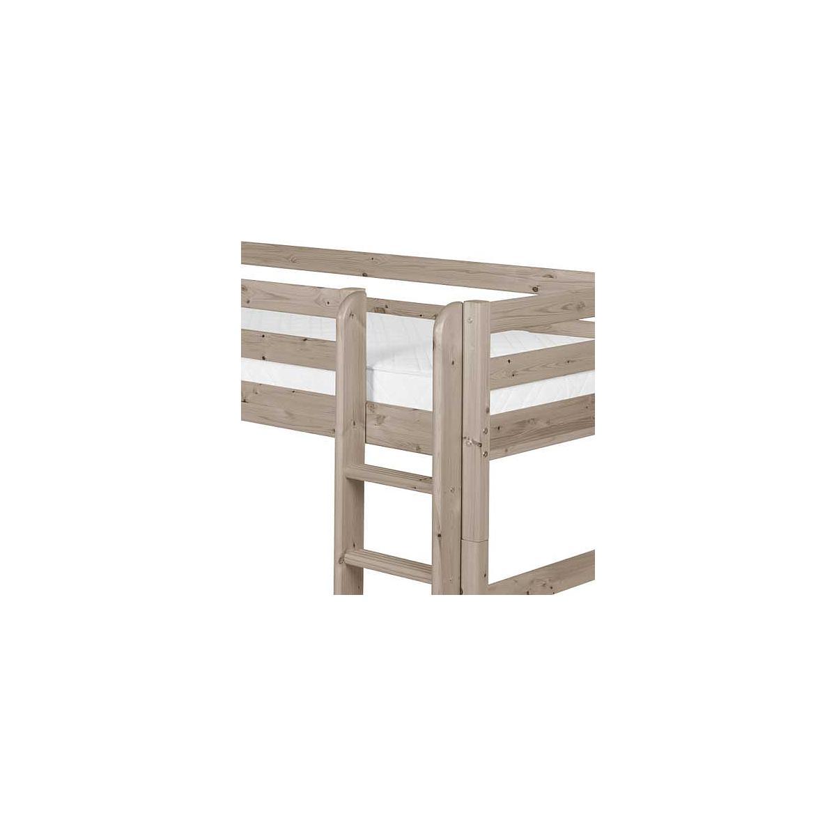 Cama semi alta 90x200 CLASSIC Flexa escalera recta terra