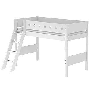 Cama semi alta 90x200 WHITE Flexa escalera inclinada barrera y patas blancas