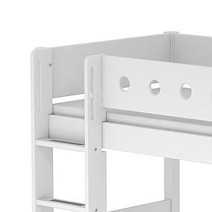 Cama semi alta 90x200 WHITE Flexa escalera recta barrera y patas blancas