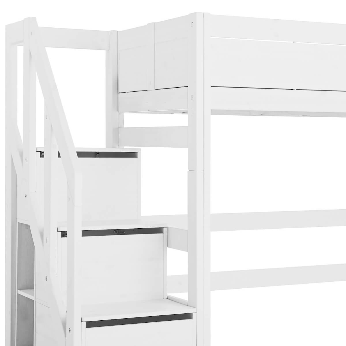 Cama semi alta 90x200cm escalera cajones Lifetime blanco