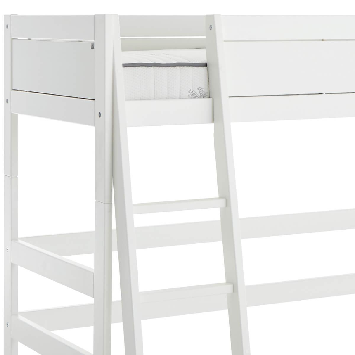 Cama semi alta 90x200cm escalera inclinada Lifetime blanco