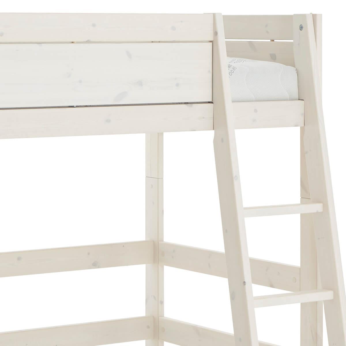 Cama semi alta 90x200cm escalera inclinada Lifetime blanqueado