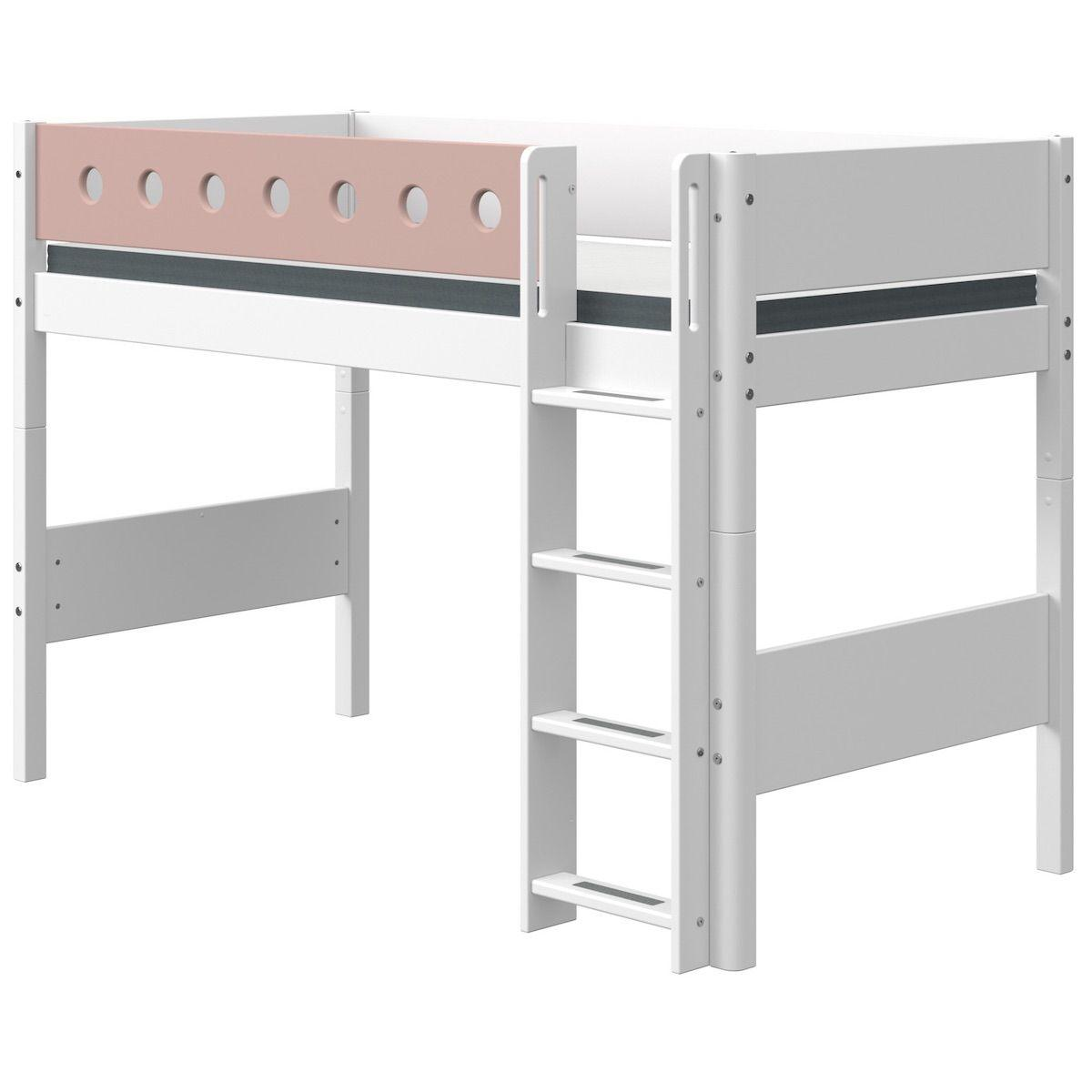 Cama semi-alta 90x200cm escalera recta WHITE Flexa blanco-rosa claro