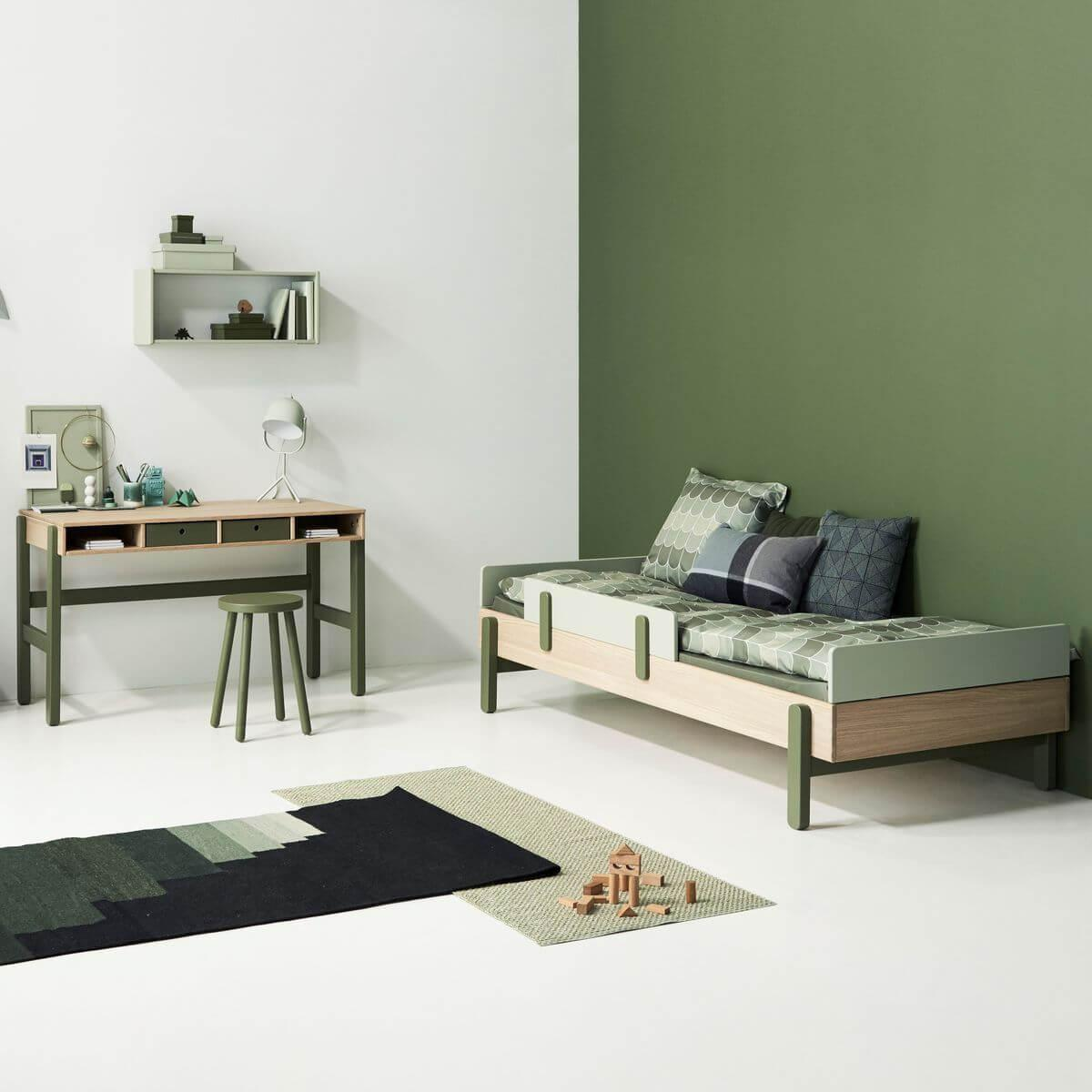 Cama simple 90x200cm POPSICLE Flexa roble-blueberry