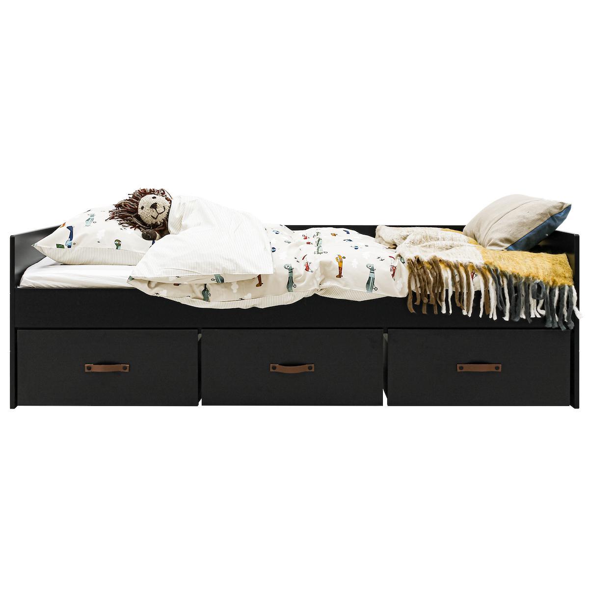 Cama-sofá 90x200cm 3 cajones FLORIS Bopita negro mate-natural