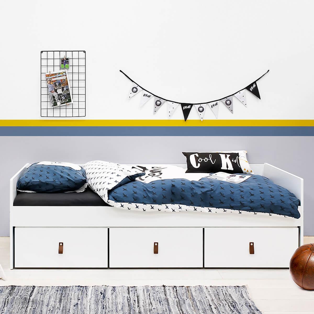 Cama-sofá 90x200cm 3 cajones INDY Bopita blanco-natural