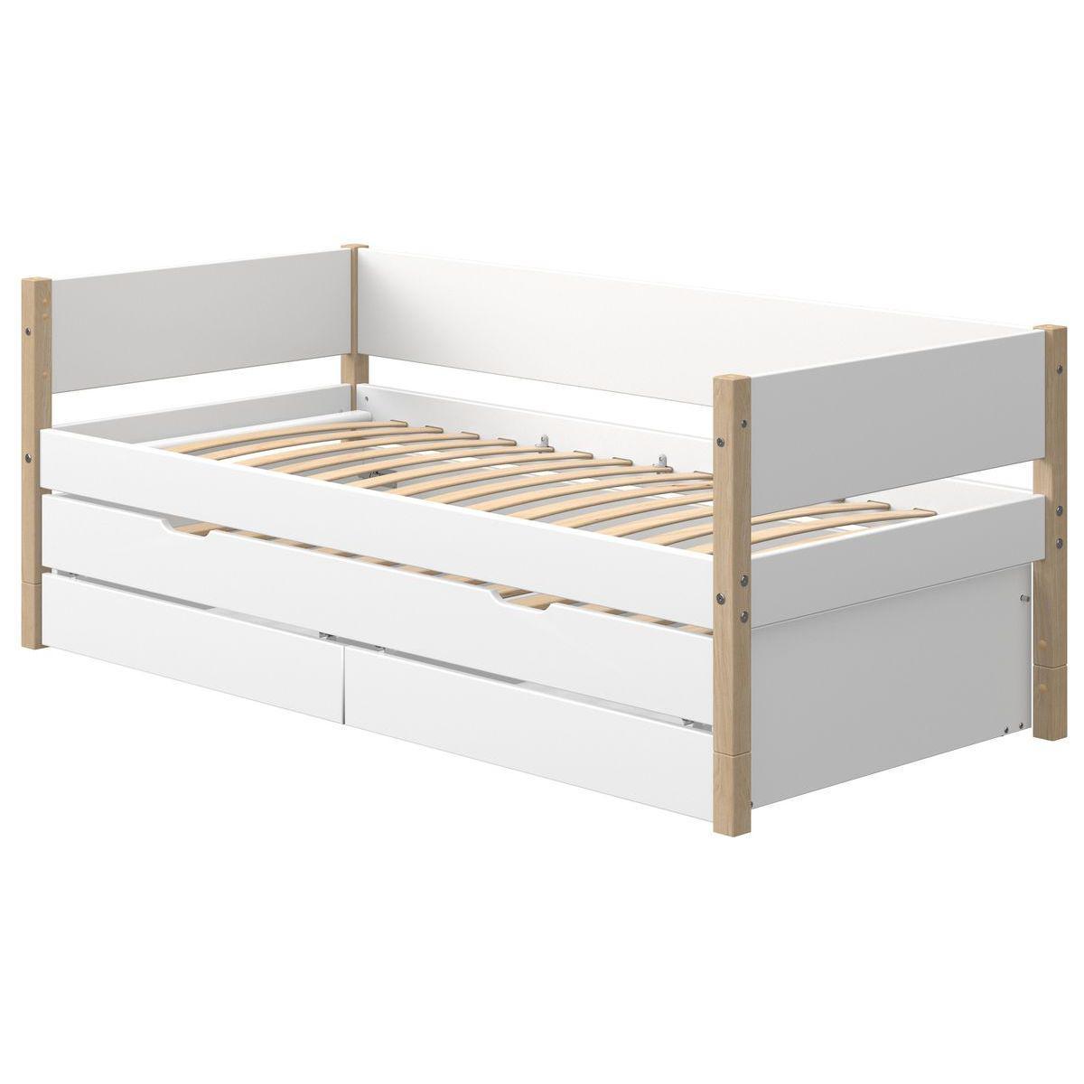 Cama-sofá 90x200cm cama nido-2 cajones NOR Flexa roble-blanco