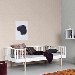 Cama sofá 90x200cm WOOD ORIGINAL Oliver Furniture blanco-roble