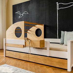Cama-sofá montessori-protección anticaídas alta-cabaña juegos KASVA haya lacado blanco-chapa roble aceitado