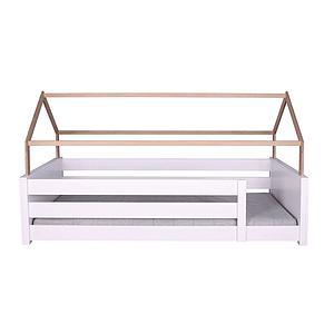 Cama-sofá montessori-protección anticaídas alta-estructura techo KASVA haya lacado blanco-chapa roble aceitado