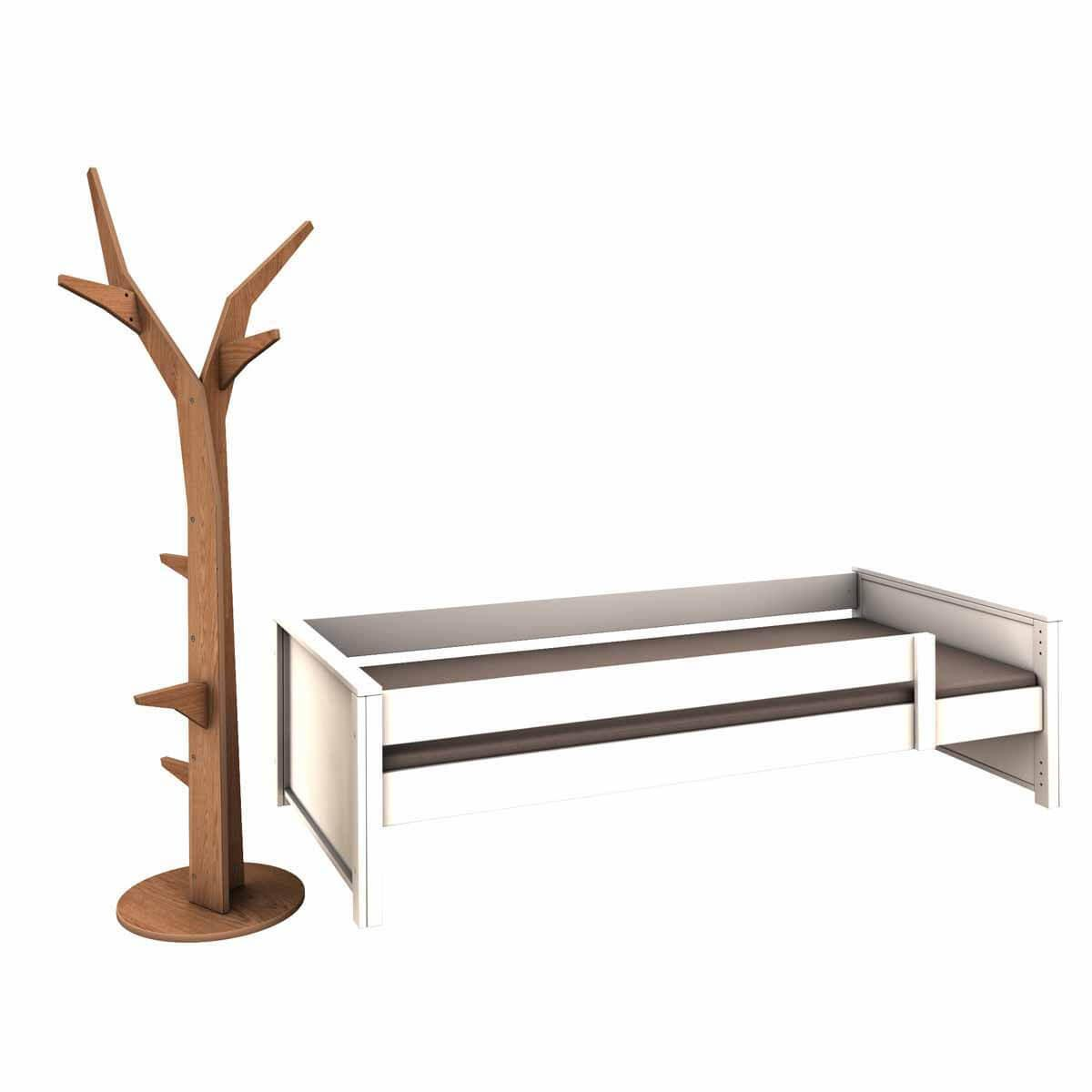 Cama-sofá protección anticaídas baja-árbol perchero KASVA haya lacado blanco