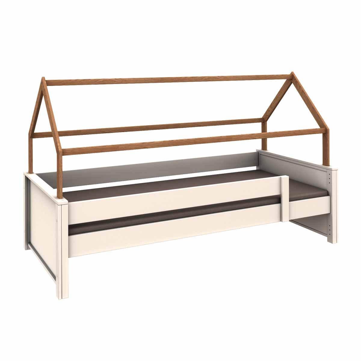 Cama-sofá protección anticaídas bajo-estructura techo KASVA haya lacado blanco-chapa roble aceitado