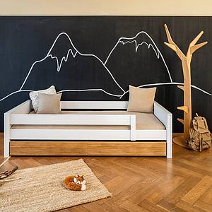 Cama-sofá protección anticaídas KASVA haya lacado blanco