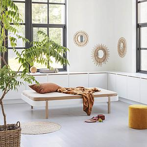 Cama tumbona 120cm WOOD Oliver Furniture blanco-roble