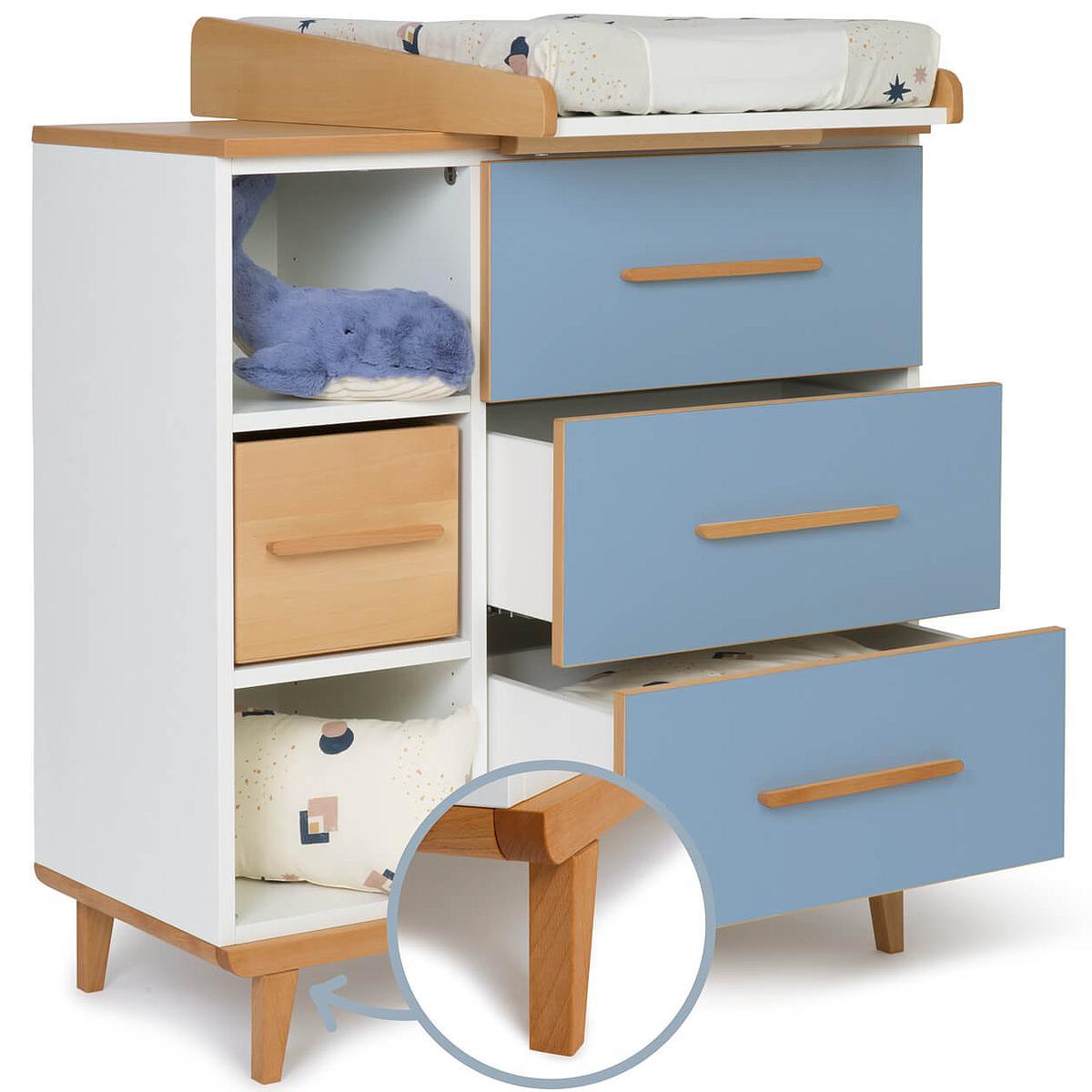 Cambiador cómoda 3 cajones NADO capri blue
