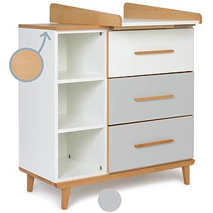Cambiador cómoda 3 cajones NADO white-manhattan grey