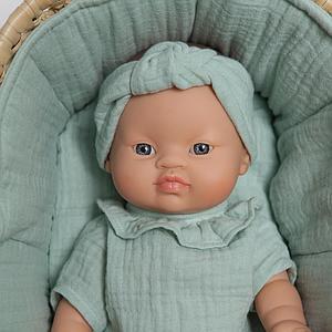 Capazo mimbre muñeca BOBBLE verde