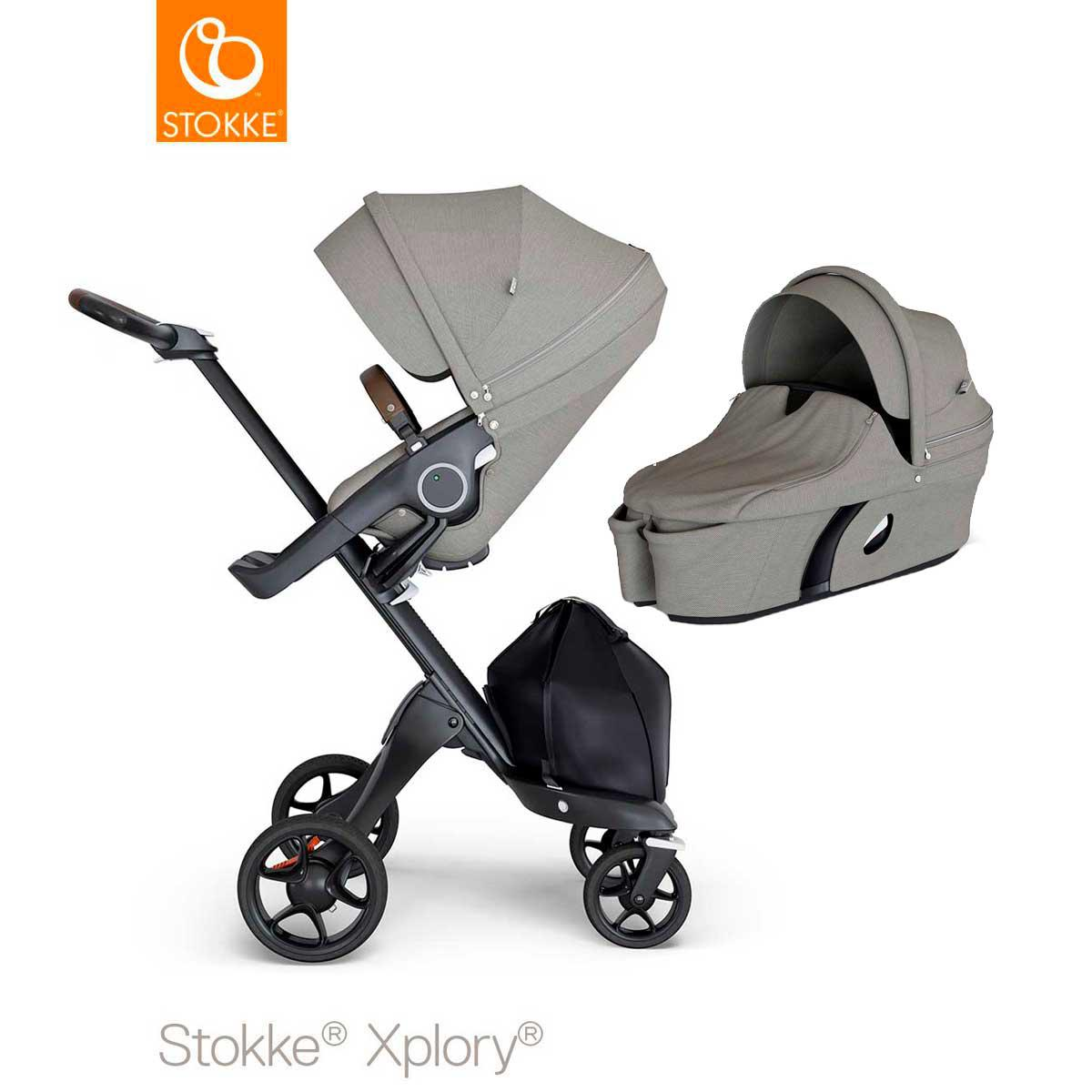 Carrito completo-con capazo V6 XPLORY Stokke negro sintético marrón-brushed grey