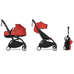 Carrito completo YOYO² bassinet 6+ Babyzen negro-rojo