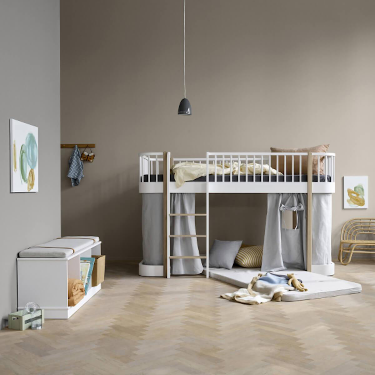 Colchón juegos 90x200cm cama media alta WOOD Oliver Furniture