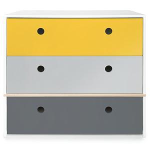 Cómoda COLORFLEX Abitare Kids cajones frontales nectar yellow-pearl grey-space grey