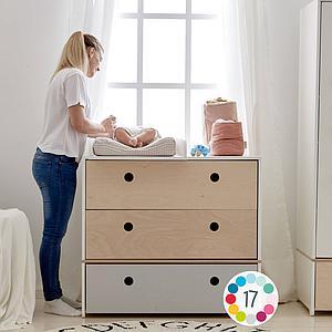 Cómoda COLORFLEX Abitare Kids cajones frontales pearl grey-pearl grey-white wash