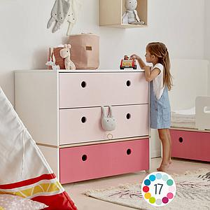 Cómoda COLORFLEX Abitare Kids cajones frontales sweet pink-mint-pearl grey