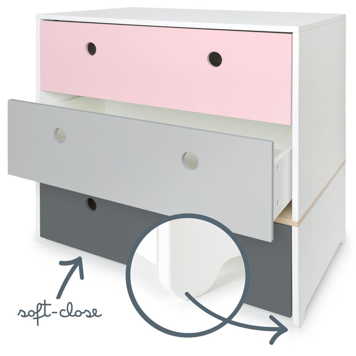 Cómoda COLORFLEX Abitare Kids cajones frontales sweet pink-pearl grey-space grey