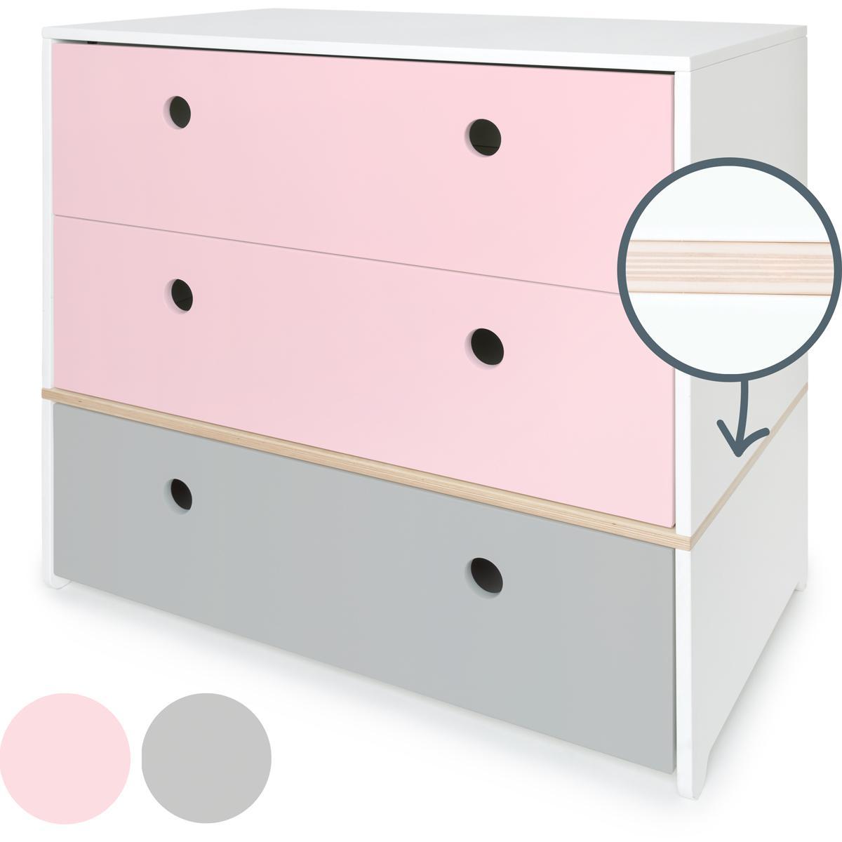 Cómoda COLORFLEX Abitare Kids cajones frontales sweet pink-sweet pink-pearl grey