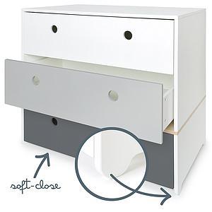 Cómoda COLORFLEX Abitare Kids cajones frontales white-pearl grey-space grey