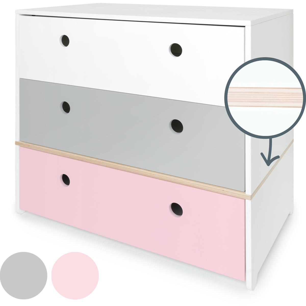 Cómoda COLORFLEX Abitare Kids cajones frontales white-pearl grey-sweet pink