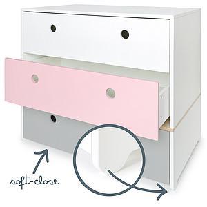 Cómoda COLORFLEX Abitare Kids cajones frontales white-sweet pink-pearl grey