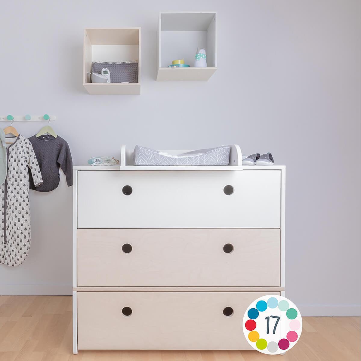 Cómoda COLORFLEX Abitare Kids cajones frontales white-white-pearl grey