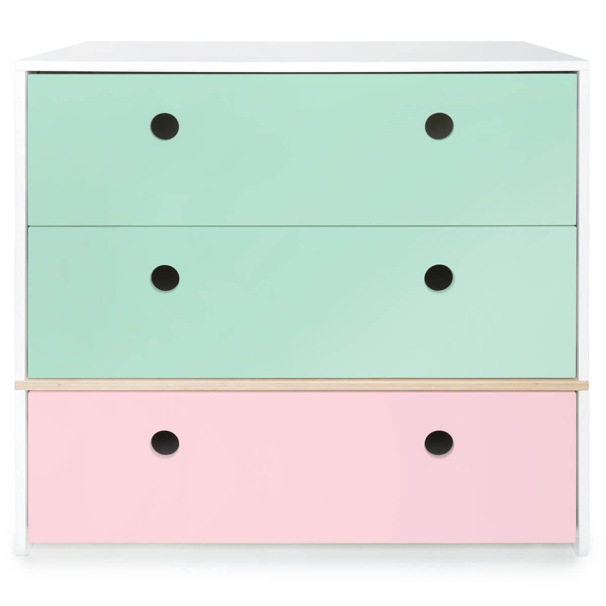 Cómoda COLORFLEX cajones frontales mint-mint-sweet pink