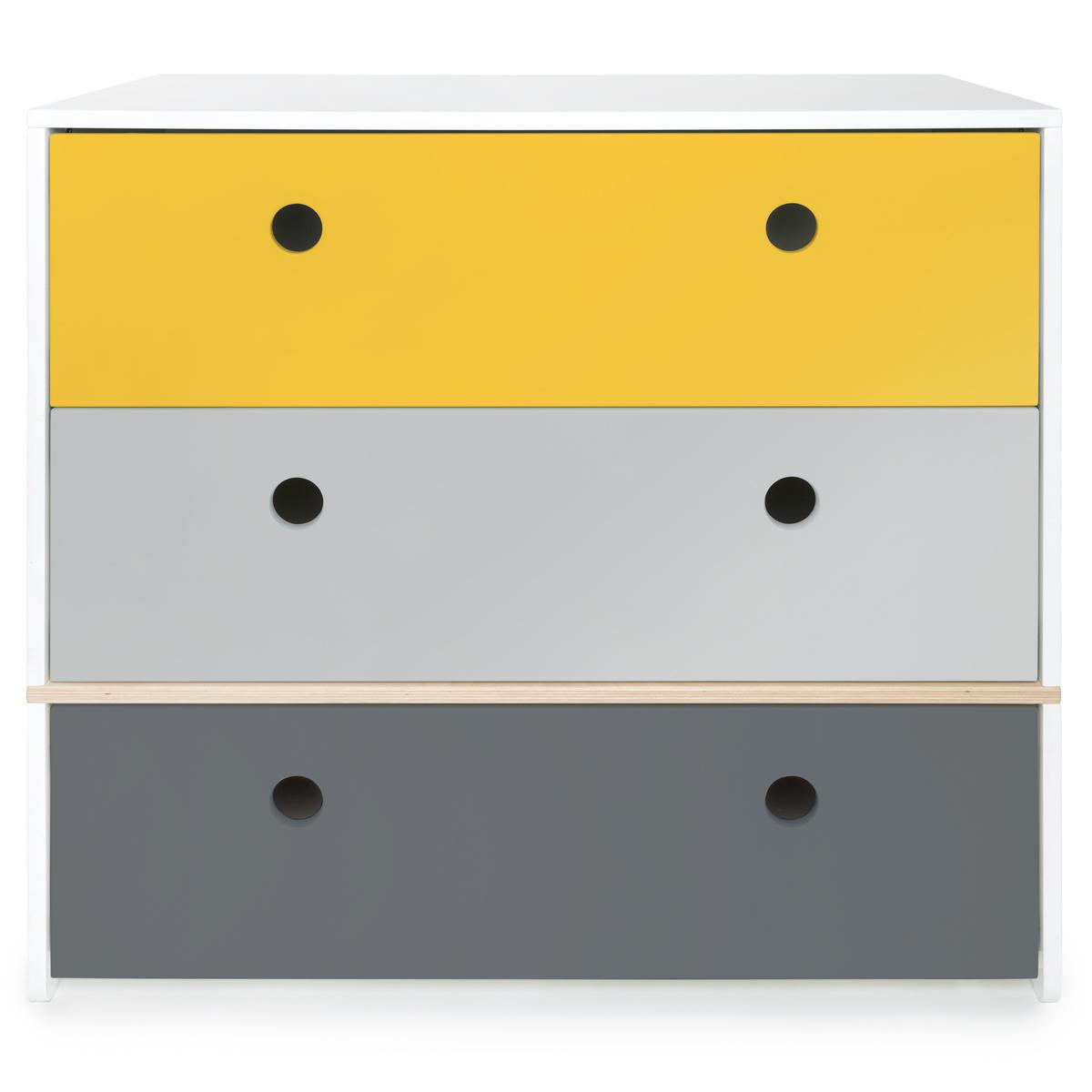 Cómoda COLORFLEX cajones frontales nectar yellow-pearl grey-space grey