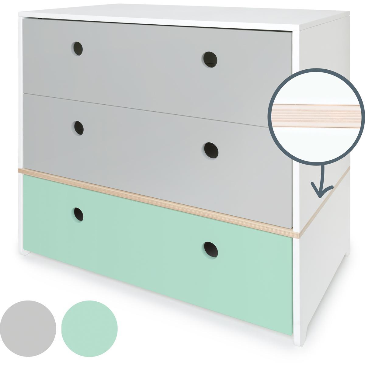 Cómoda COLORFLEX cajones frontales pearl grey-pearl grey-mint